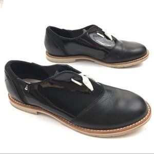 Ahnu Women Black Leather Oxford Lace Up Shoes 6